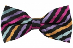 Black Bow Tie With Bright Multi Colour Wavy Stripes